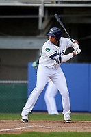 Princeton Rays designated hitter Vincent Byrd (24) at bat during the second game of a doubleheader against the Greeneville Reds on July 25, 2018 at Hunnicutt Field in Princeton, West Virginia.  Greeneville defeated Princeton 8-7.  (Mike Janes/Four Seam Images)