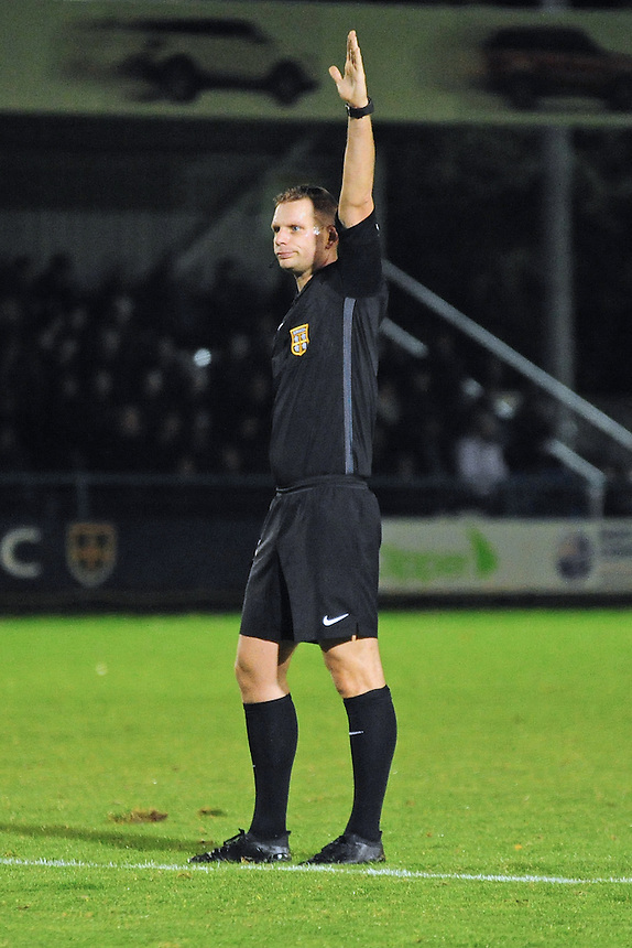 Referee Andrew Miller<br /> <br /> Photographer Andrew Vaughan/CameraSport<br /> <br /> Football - The Emirates FA Cup 4th Qualifying Round Replay - Guiseley v Lincoln City - Tuesday 18th October 2016 - Nethermore Park - Guiseley<br />  <br /> World Copyright &copy; 2016 CameraSport. All rights reserved. 43 Linden Ave. Countesthorpe. Leicester. England. LE8 5PG - Tel: +44 (0) 116 277 4147 - admin@camerasport.com - www.camerasport.com