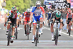 Arnaud Demare (FRA) Groupama-FDJ outsprints Elia Viviani (ITA) Deceuninck-Quick-Step and Rüdiger Selig (GER) Bora-Hansgrohe to win Stage 10 of the 2019 Giro d'Italia, running 145km from Ravenna to Modena, Italy. 21st May 2019<br /> Picture: Fabio Ferrari/LaPresse | Cyclefile<br /> <br /> All photos usage must carry mandatory copyright credit (© Cyclefile | Fabio Ferrari/LaPresse)