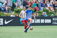 Boston, MA - Friday July 07, 2017: Christen Press and Angela Salem during a regular season National Women's Soccer League (NWSL) match between the Boston Breakers and the Chicago Red Stars at Jordan Field.