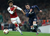 2nd November 2017, Emirates Stadium, London, England; UEFA Europa League group stage, Arsenal versus Red Star Belgrade; Nemanja Radonjic of Red Star Belgrade runs passed Reiss Nelson of Arsenal