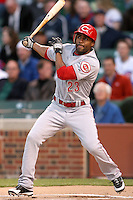 April 16, 2008:  Cincinnati Reds outfielder Corey Patterson (23) at bat against the Chicago Cubs at Wrigley Field in Chicago, IL. Photo by: Chris Proctor/Four Seam Images