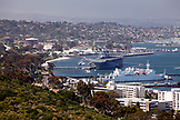 USA, California, San Diego, a view of the San Diego Bay and USS Midway Museum from the Cabrillo National Monument
