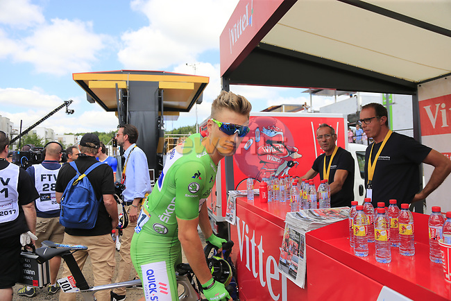 Green Jersey holder Marcel Kittel (GER) Quick-Step Floors at sign on in Mondorf-les-Bains before the start of Stage 4 of the 104th edition of the Tour de France 2017, running 207.5km from Mondorf-les-Bains, Luxembourg to Vittel, France. 4th July 2017.<br /> Picture: Eoin Clarke | Cyclefile<br /> <br /> <br /> All photos usage must carry mandatory copyright credit (&copy; Cyclefile | Eoin Clarke)