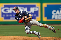 Auburn Tigers second baseman Jordan Ebert #23 follows through on a throw to first base against the LSU Tigers in the NCAA baseball game on March 24, 2013 at Alex Box Stadium in Baton Rouge, Louisiana. LSU defeated Auburn 5-1. (Andrew Woolley/Four Seam Images).