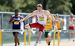 FARGO, ND - MAY 13: Jay Cooper from the University of South Dakota clears a hurdle en route to winning the men's 400 meter hurdles Saturday at the 2017 Summit League Outdoor Track Championship at the Ellig Sports Complex in Fargo, ND. (Photo by Dave Eggen/Inertia)