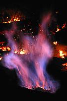 Lava flow methane flame, Near Hawaii, USA Volcanoes National Park, Kalapana, Hawaii, USA, The Big Island of Hawaii, USA