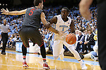 15 November 2015: North Carolina's Theo Pinson (1) and Fairfield's Scott King, Jr. (5). The University of North Carolina Tar Heels hosted the Fairfield University Stags at the Dean E. Smith Center in Chapel Hill, North Carolina in a 2015-16 NCAA Division I Men's Basketball game. UNC won the game 92-65.