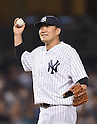 Masahiro Tanaka (Yankees), AUGUST 21, 2015 - MLB : Pitcher Masahiro Tanaka of the New York Yankees smiles during the Major League Baseball game against the Cleveland Indians at Yankee Stadium in the Bronx, New York, United States. (Photo by AFLO)