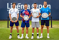 Rosmalen, Netherlands, 15 June, 2019, Tennis, Libema Open, Mens doubles: prizegiving : runners up left Daniel/Koolhof and winners Krajicek/Inglot<br /> Photo: Henk Koster/tennisimages.com