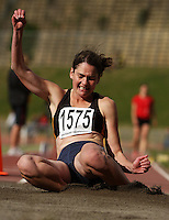 Wellington's Marissa Pritchard competes in the women's long jump during the National athletics championships at Newtown Park, Wellington, New Zealand on Friday, 27 March 2009. Photo: Dave Lintott / lintottphoto.co.nz