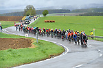 The peloton during a wet miserable 105th edition of Liège-Bastogne-Liège 2019, La Doyenne, running 256km from Liege to Liege, Belgium. 28th April 2019<br /> Picture: Colin Flockton | Cyclefile<br /> All photos usage must carry mandatory copyright credit (© Cyclefile | Colin Flockton)