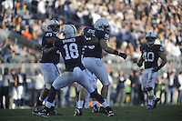 17 November 2012:  Penn State's Deion Barnes (18) celebrates after sacking Indiana QB Cameron Coffman (2).  The Penn State Nittany Lions defeated the Indiana Hoosiers 45-22 at Beaver Stadium in State College, PA.