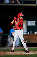 Harrisburg Senators shortstop Carter Kieboom (5) at bat during a game against the Akron RubberDucks on August 18, 2018 at FNB Field in Harrisburg, Pennsylvania.  Akron defeated Harrisburg 5-1.  (Mike Janes/Four Seam Images)