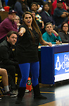 Reed coach Sara Schopper-Ramirez during the Spanish Springs Cougars at Reed Raiders girls basketball game played on Friday night, February 10, 2017 at Reed High School in Sparks, Nevada.