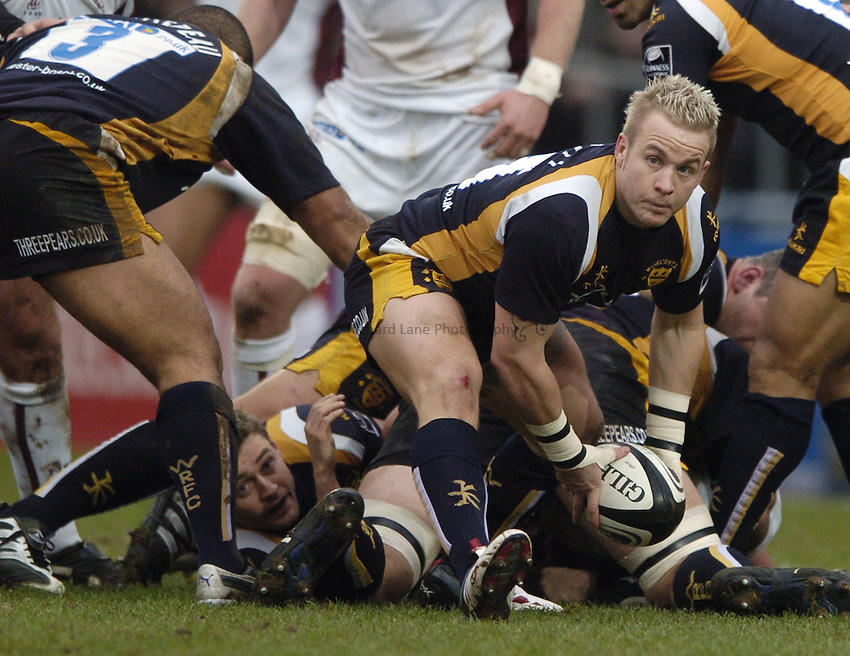 Photo: Jonathan Butler..Worcester Warriors v Leicester Tigers. Guinness Premiership. 17/02/2007..Ryan Powell of Worcester.