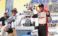 Apr 25, 2009; Talladega, AL, USA; NASCAR Nationwide Series driver David Ragan (left) celebrates with team owner Jack Roush after winning the Aarons 312 at the Talladega Superspeedway. Mandatory Credit: Mark J. Rebilas-