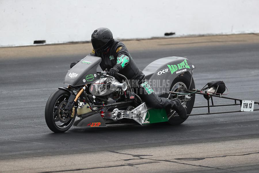 May 20, 2017; Topeka, KS, USA; NHRA top fuel nitro Harley Davidson rider Tracy Kile during qualifying for the Heartland Nationals at Heartland Park Topeka. Mandatory Credit: Mark J. Rebilas-USA TODAY Sports