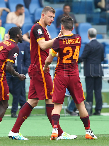03.04.2016. Stadium Olimpico, Rome, Italy.  Serie A football league. Derby Match SS Lazio versus AS Roma. Celebration after the goal from Florenzi Alessandro 1-3