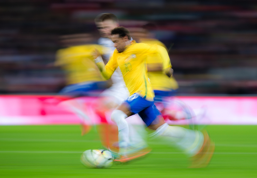 Brazil&rsquo;s Neymar Jr in action <br /> <br /> Photographer Craig Mercer/CameraSport<br /> <br /> The Bobby Moore Fund International - England v Brazil - Tuesday 14th November 2017 Wembley Stadium - London  <br /> <br /> World Copyright &copy; 2017 CameraSport. All rights reserved. 43 Linden Ave. Countesthorpe. Leicester. England. LE8 5PG - Tel: +44 (0) 116 277 4147 - admin@camerasport.com - www.camerasport.com