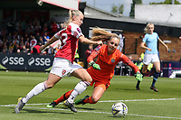 Ellie Roebuck of Manchester City Women denies Beth Mead of Arsenal Women during Arsenal Women vs Manchester City Women, FA Women's Super League Football at Meadow Park on 11th May 2019