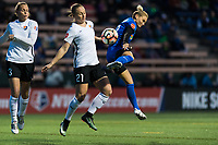 Seattle, WA - Saturday April 15, 2017: Leah Galton, Jess Fishlock during a regular season National Women's Soccer League (NWSL) match between the Seattle Reign FC and Sky Blue FC at Memorial Stadium.