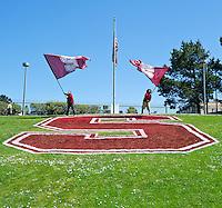 SAN FRANCISCO, CA - April 14, 2012: Stanford flags at the Stanford Cardinal and White Spring Game at Kezar Stadium in San Francisco, CA.