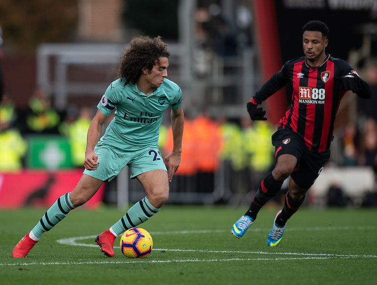 Arsenal's Matteo Guendouzi (left) under pressure from  Bournemouth's Lys Mousset (right) <br /> <br /> Photographer David Horton/CameraSport<br /> <br /> The Premier League - Bournemouth v Arsenal - Sunday 25th November 2018 - Vitality Stadium - Bournemouth<br /> <br /> World Copyright © 2018 CameraSport. All rights reserved. 43 Linden Ave. Countesthorpe. Leicester. England. LE8 5PG - Tel: +44 (0) 116 277 4147 - admin@camerasport.com - www.camerasport.com