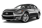 Stock pictures of low aggressive front three quarter view of 2016 Infiniti Q70 Hybrid 4 Door Sedan Low Aggressive