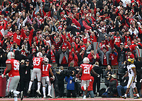 Ohio State Buckeyes wide receiver Terry McLaurin (83) celebrates the touchdown catch by Ohio State Buckeyes wide receiver Chris Olave (17)d uring the first half of the NCAA football game between Ohio State and Michigan at Ohio Stadium on Saturday, November 24, 2018. [Jonathan Quilter/Dispatch]