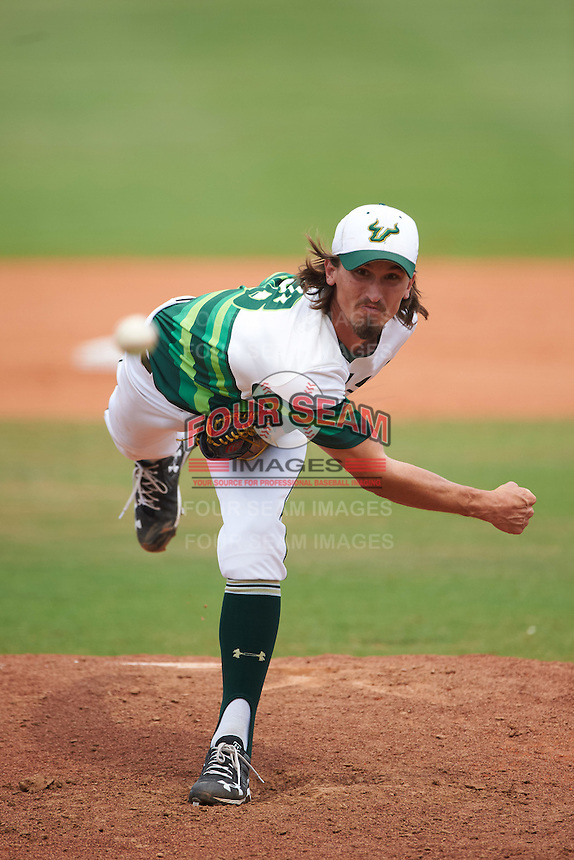 South Florida Bulls relief pitcher Tommy Eveld (28) during a game against the Dartmouth Big Green on March 27, 2016 at USF Baseball Stadium in Tampa, Florida.  South Florida defeated Dartmouth 4-0.  (Mike Janes/Four Seam Images)