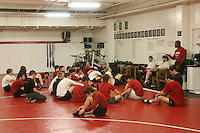 11 March 2008: Head coach Kerry McCoy talks with the team during their final major practice in the wrestling room prior to the NCAA Championships in St. Louis, Missouri.
