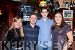 Conall Gillespie, Aisling Smith Eimear Cagney and Alan Clancy enjoying New Years Eve in McSweeney's bar Killarney