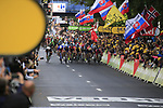 Bunch sprint for the finish line of Stage 2 of the 104th edition of the Tour de France 2017, running 203.5km from Dusseldorf, Germany to Liege, Belgium. 2nd July 2017.<br /> Picture: Eoin Clarke | Cyclefile<br /> <br /> <br /> All photos usage must carry mandatory copyright credit (&copy; Cyclefile | Eoin Clarke)