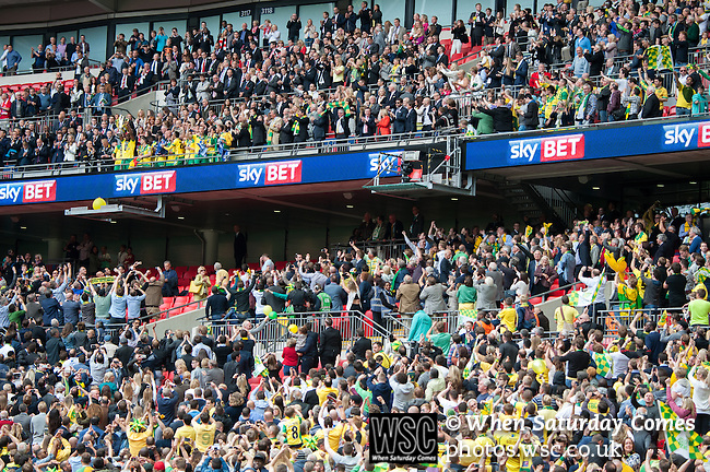 Norwich City 2 Middlesbrough 0, 25/05/2015. Wembley Stadium, Championship Play Off Final. Norwich City players celebrate with the trophy. A match worth £120m to the victors. On the day Norwich City secured an instant return to the Premier League with victory over Middlesbrough in front of 85,656. Photo by Simon Gill.