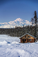 Log cabin with Mt. Mckinley and Alaska Range in the background.   Southcentral, Alaska<br /> <br />  PR2013-03-23SchorrJim Cabin