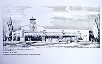 Ink Drawing on paper of Brinks Super Market Building, Santa Barbara, 1933. Architect Carleton M. Winslow. REF: Architectural Drawing Collection, University Art Museum, UCSB. Dec. 1987