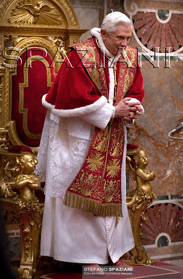 Pope Benedict XVI during the traditional speech to the Holy See's diplomatic corps, at the Vatican, Thursday, Jan 8, 2009.