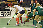 Berlin, Germany, February 01: Luisa Steindor #2 of Duesseldorfer HC controls the ball during the 1. Bundesliga Damen Hallensaison 2014/15 final hockey match between Duesseldorfer HC (white) and HTC Uhlenhorst Muehlheim (green) on February 1, 2015 at the Final Four tournament at Max-Schmeling-Halle in Berlin, Germany. Final score 4-1 (1-0). (Photo by Dirk Markgraf / www.265-images.com) *** Local caption ***