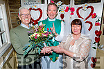Breda and Sean Hurley from the Spa, celebrating 50 years of wedded bliss and renewing it in good faith for the Kerry/Cork Cancer Link Bus in the Brogue Inn of Friday Vinnie Murphy giving them his blessing