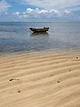 Palau, Micronesia -- Lone boat at a beach.