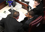 Nevada Senate Majority Leader Steven Horsford, D-North Las Vegas, center works with fellow Democrats John Lee and Valerie Wiener on the first day of the Legislative session at the Legislature in Carson City, Nev., on Monday, Feb. 7, 2011. .Photo by Cathleen Allison