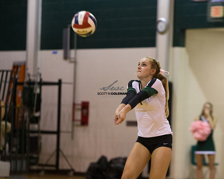 Cedar Park Timberwolves junior Ryan Kaharski (1) during the high school volleyball game between Cedar Park and Elgin at Cedar Park High School in Cedar Park, Texas, on October 3, 2017.