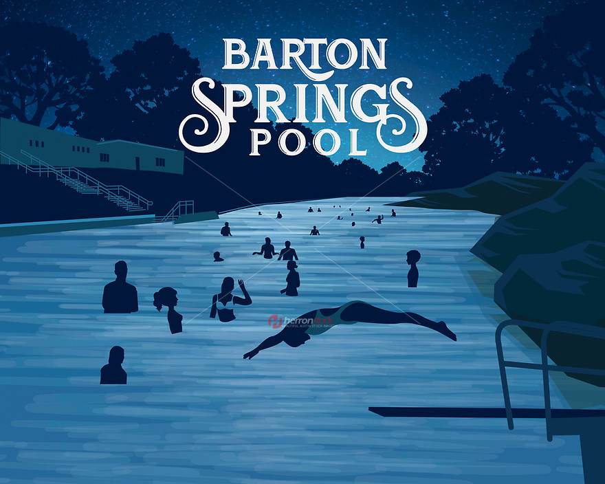 Barton Springs Pool silhouette fine art print in blue. Barton Springs Pool is known as the crown jewel of Austin, Texas