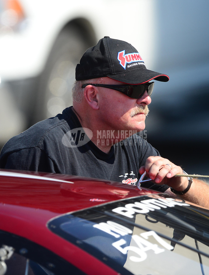 Sept. 29, 2012; Madison, IL, USA: NHRA pro stock driver Mark Hogan during qualifying for the Midwest Nationals at Gateway Motorsports Park. Mandatory Credit: Mark J. Rebilas-