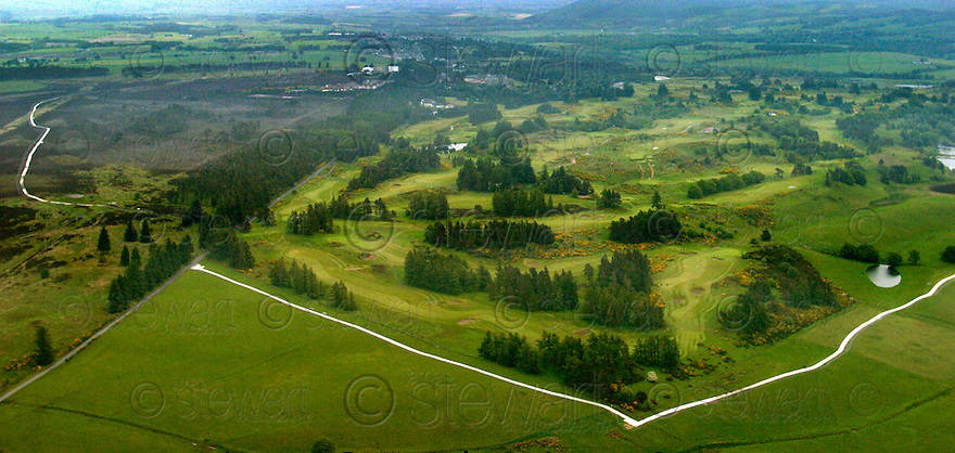 15/06/2005         Copyright Pic : James Stewart.File Name : sct_jspa10_g8_gleneagles_150605.THE TEMPORARY ROAD AND SECURITY FENCE RUNS THROUGH THE PERTHSHIRE HILLSIDE SURROUNDING GLENEAGLES HOTEL (TOP CENTRE) IN PREPARATION FOR THE G8 SUMMIT......Payments to :.James Stewart Photo Agency 19 Carronlea Drive, Falkirk. FK2 8DN      Vat Reg No. 607 6932 25.Office     : +44 (0)1324 570906     .Mobile   : +44 (0)7721 416997.Fax         : +44 (0)1324 570906.E-mail  :  jim@jspa.co.uk.If you require further information then contact Jim Stewart on any of the numbers above.........