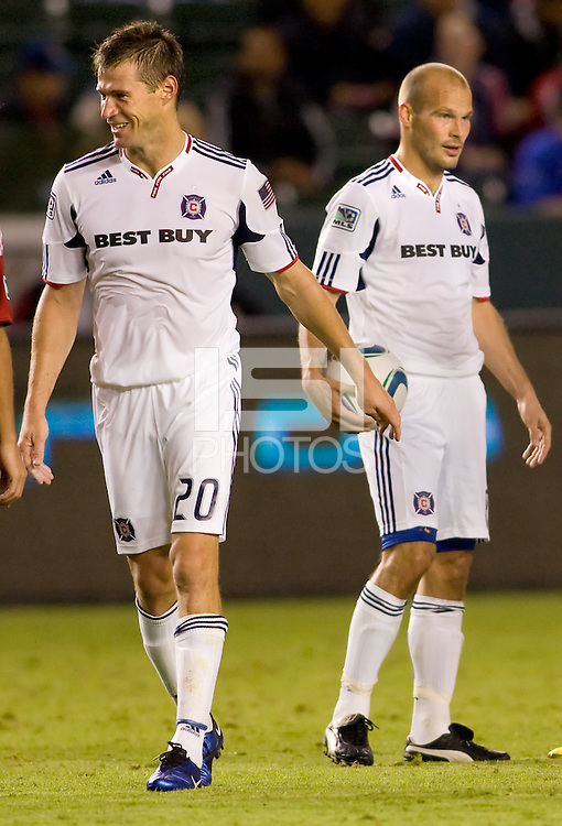 Chicago Fire veterans Brian McBride (20) and Freddie Ljungberg (r) during their last match together as Fire teammates. The Chicago Fire defeated CD Chivas USA 3-1 at Home Depot Center stadium in Carson, California on Saturday October 23, 2010.