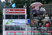 Aug. 2, 2014; Kent, WA, USA; NHRA fans sit in the grandstands during qualifying for the Northwest Nationals at Pacific Raceways. Mandatory Credit: Mark J. Rebilas-USA TODAY Sports