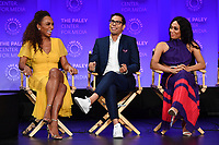 "HOLLYWOOD, CA - MARCH 23: Janet Mock, Steven Canals and Mj Rodriguez at PaleyFest 2019 for FX's ""Pose"" panel at the Dolby Theatre on March 23, 2019 in Hollywood, California. (Photo by Vince Bucci/FX/PictureGroup)"