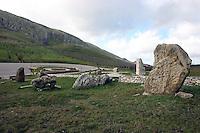 Portella della Ginestra, 18 Dicembre 2005. Il monumento che ricorda la strage di Portella della Ginestra